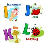 Alphabet  I J K L. English alphabet  M N O P with letters and pictures to them Royalty Free Stock Photography