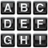 Alphabet A-I metal icons. Web page Stock Photography