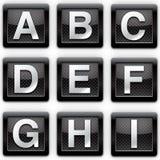 Alphabet A-I metal icons Stock Photography