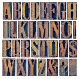 Alphabet iand punctuation in wood type. Alphabet in modern letterpress wood type printing blocks, a collage of 26 isolated letters, question mark, exclamation Royalty Free Stock Photo