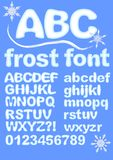 Alphabet in ice design. Uppercase, lowercase, numbers, exclamation and question mark for winter design. Snowflake shapes included. Royalty Free Stock Photos