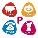 Alphabet im Vektor P-Buchstabe für Schwein, Kürbis, Telefon und puppi Lizenzfreie Stockfotos