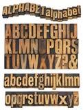 Alphabet im Weinleseholztypen Stockfotografie