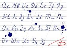 Alphabet imprécis d'écriture Photographie stock