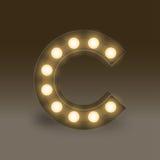 Alphabet Incandescent light bulb box set letter C, illustration Stock Image