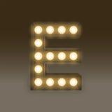 Alphabet Incandescent light bulb box set letter E, illustration Royalty Free Stock Image