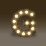 Alphabet Incandescent light bulb box set letter G, illustration Royalty Free Stock Photography