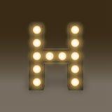 Alphabet Incandescent light bulb box set letter H, illustration Stock Photography