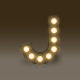 Alphabet Incandescent light bulb box set letter J, illustration Stock Image