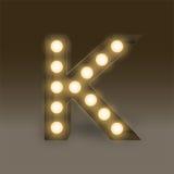 Alphabet Incandescent light bulb box set letter K, illustration Stock Photo