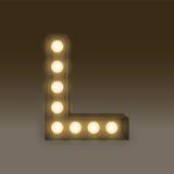 Alphabet Incandescent light bulb box set letter L, illustration Stock Photography