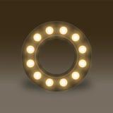 Alphabet Incandescent light bulb box set letter O, illustration Royalty Free Stock Photo