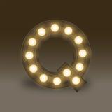 Alphabet Incandescent light bulb box set letter Q, illustration Stock Photo