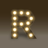 Alphabet Incandescent light bulb box set letter R, illustration Royalty Free Stock Photos
