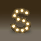 Alphabet Incandescent light bulb box set letter S, illustration Stock Photography