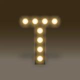 Alphabet Incandescent light bulb box set letter T, illustration Stock Photography