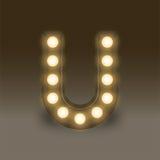 Alphabet Incandescent light bulb box set letter U, illustration Royalty Free Stock Image