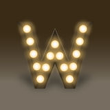 Alphabet Incandescent light bulb box set letter W, illustration Stock Images