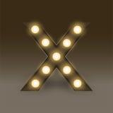 Alphabet Incandescent light bulb box set letter X, illustration Stock Photo