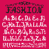Alphabet.Ink Hand drawn letters.Fashion style Stock Image