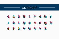 Alphabet isométrique de couleur de vecteur Image libre de droits