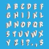 Alphabet isométrique Police de techno avec les caractères gras illustration libre de droits