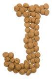 Alphabet J de noix de gingembre Images stock