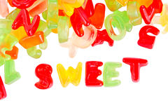 Alphabet  jelly  candies Royalty Free Stock Photo