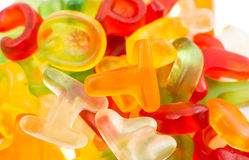 Alphabet jelly candies Stock Images