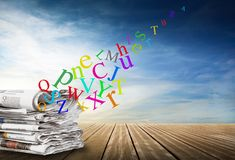 Alphabet with journal in sky background. Alphabet with journal on sky background Stock Image