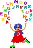 Alphabet juggle. Cute cartoon girl juggling letters of the alphabet stock illustration