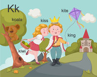 Alphabet.K. Letter koala kiss kiwi king kite Royalty Free Stock Images
