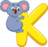 Alphabet K with Koala cartoon Stock Images