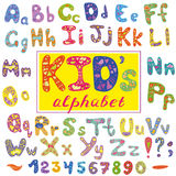 Alphabet in kid style. Vector with letters and numbers. Hand drawn font Stock Photos