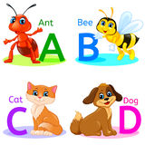 Alphabet kids animals ABCD. ABCD Alphabet wildlife. Eps 10 Stock Image