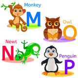 Alphabet kids animals MNOP Stock Photo