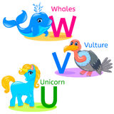 Alphabet kids animals UVW Stock Photography