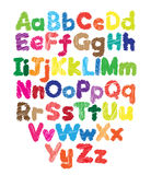 Alphabet kids doodle colored hand drawing Royalty Free Stock Photos