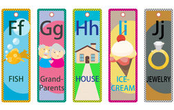 Alphabet Kids Educational Bookmarks Collection F-J. Alphabet learning printable bookmark collection F-J for children Stock Photography