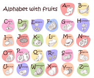 Alphabet for kids with fruits. English ABC. Cute modern template Royalty Free Stock Images