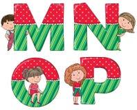 Alphabet kids MNOP Royalty Free Stock Photos