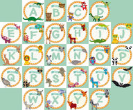 Alphabet for kids from A to Z. Set of funny cartoon animals char Stock Images