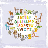 Alphabet for kids from A to Z. Set of funny cartoon animals character. zoo on blue grunge background. Vector Royalty Free Stock Images