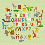 Alphabet for kids from A to Z. Set of funny cartoon animals character. zoo on green polka dots background. Vector. Illustration Stock Photos