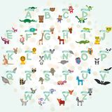 Alphabet for kids from A to Z. Set of funny cartoon animals character. zoo. Vector Stock Images
