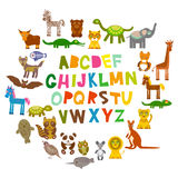 Alphabet for kids from A to Z. Set of funny cartoon animals character. zoo on white background. Vector. Illustration Stock Images