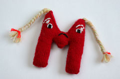 Alphabet, knitted, letter, emotion, handmade Royalty Free Stock Photography