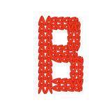 Alphabet knitted red letter on white background. Vector illustration. Knitting alphabet abc B letter in red color on white background. Christmas or New Year Royalty Free Stock Image