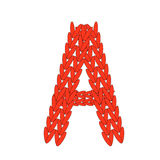 Alphabet knitted red letter on white background. Vector illustration. Stock Photos
