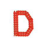 Alphabet knitted red letter on white background. Vector illustration. Stock Photo